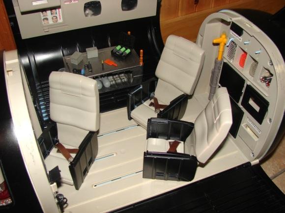 Closeup of the plane's interior.