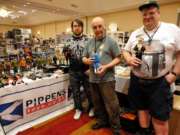 Three dedicated Action Man fans from the UK attended the recent Joelanta Show in Atlanta. From the left- Gareth Pippen, father Barry Pippen and friend Alan Dawson.