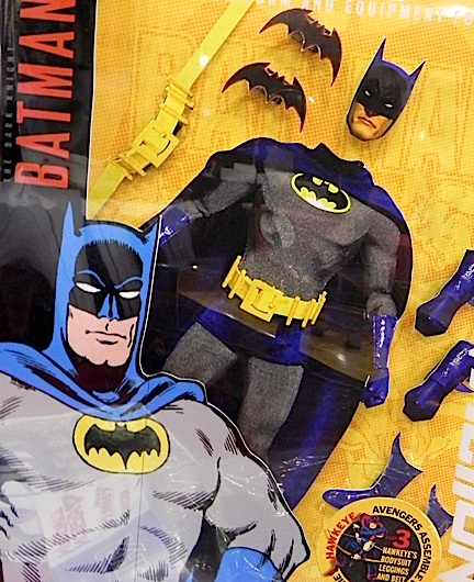 In this closeup of a package mock-up for an upcoming CA Batman set, assorted DC Direct parts and simple cardboard cutouts are used to indicate the sort of contents fans can expect to see. (Photo: Toygodd)