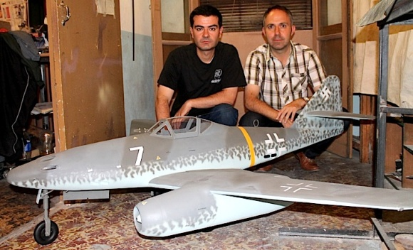 Javi and Caeser pose next to their latest 1:6 scale masterwork, a Messerschmidt ME (Photo: javi)