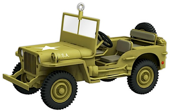 "The Willys Jeep is now available as a beautiful, miniature ornament. Simply remove the hanging eyelet, put it under your 1:6 scale tree, and ""Junior's"" got his own 5-Star! (Photo: Hallmark)"