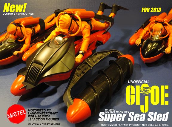 Toy manufacturers may be missing a big opportunity to take advantage of Hasbro's extended lull in offering 1:6 scale products for  its flagship brand, GIjOE. While they wait, fans and collectors have turned to cannablizing and customizing products from other manufacturers, such as this customized RC Terrain Twister from Mattel. (Fantasy ad: Mark Otnes)