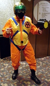 "This talented fan was spotted a few years ago roaming the hotel hallways at the GIjOE Con in Kansas City. His homemade ""Fantastic Freefall"" skydiver costume made heads turn and flashbulbs pop. Could an Adventure Team ""fan film"" be far behind? (Photo: Mark Otnes) Click to enlarge."