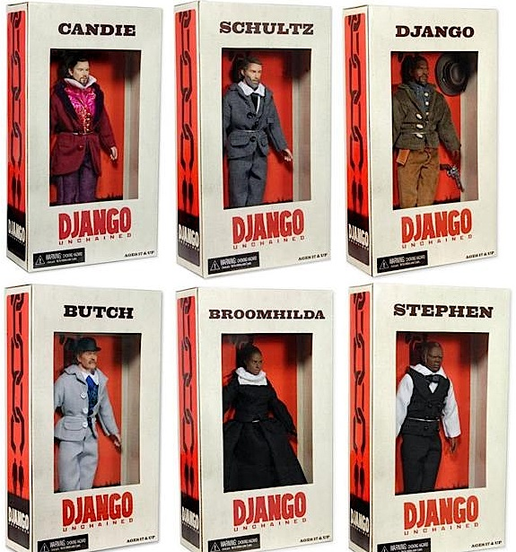 The six new Django Unchained action figures are creating a controversy among collectors and others. (Photo: NCEA)