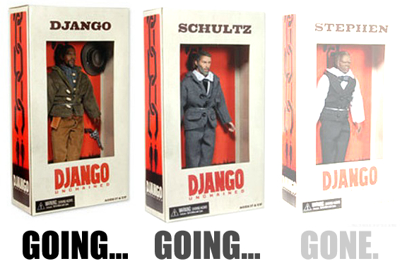 "Already sold out in many parts of the U.S., the controversial Django Unchained action figures will soon be even harder to find since they have now been officially ""discontinued"" by their manufacturer. (Photo NCEA)"