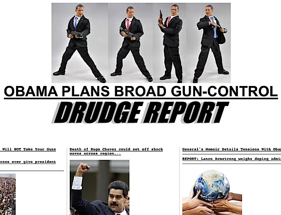 """In this screenshot of The Drudge Report's homepage, dated 1-5-13, a montage of four 1:6 scale Obama action figures is used as a headline """"teaser"""" linking to an article about gun control on The Washington Post's website. (Action figure by DiD corporation)"""