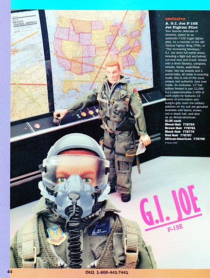 Another outstanding example of GIjOE advertising, this half of a 2-page spread in an FAO Schwartz catalog depicts an exciting scene with exclusive F-15 pilots. WOW. (Courtesy: Mark Otnes Collection)