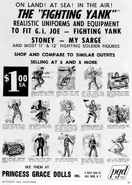 "And don't forget GIjOE ""knockoffs!"" For ephemera collectors, the more obscure, the better. This rare advertisement for the (in)famous GIjOE-knockoff, ""Fighting Yank,"" reveals just how ambitious their plan to copy GIjOE actually was. Very informative old ad!"