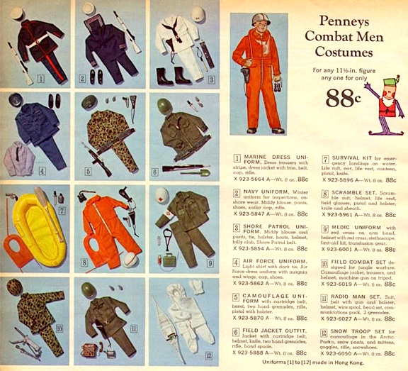 "Major department store catalogs are also a good source of old GIjOE ephemera. This spread in a 1966 JCPenny catalog reveals a new line of ""Combat Man"" uniform sets the store had produced in an attampt to ""piggyback"" on GIjOE's burgeoning popularity. (File source unknown)"