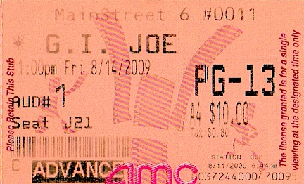 Yes, even tiny items such as this ticket stub to a GIjOE movie, can be considered as collectible Joe ephemera. Do YOU have one? (Courtesy: Mark Otnes Collection)