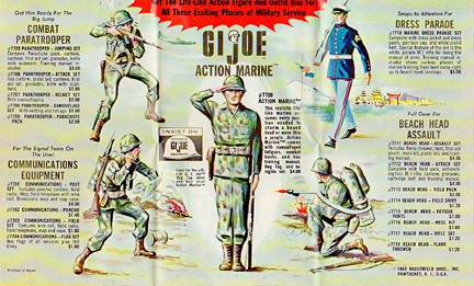 Vintage GIjOE brochures were so popular (and BIG) that many kids showed them off as posters. Check out this great Marine action! (Courtesy: Robert Findlay Collection)