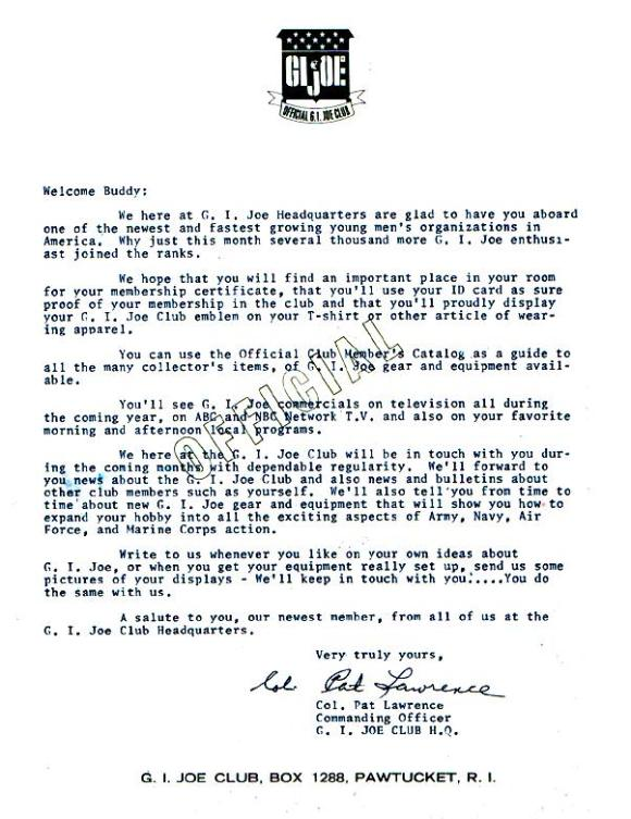"Another ""boring"" paper item routinely tossed by most kids in the 1960s-70s, this ORIGINAL ""welcome"" letter from the Hasbro club is indeed a rare piece of ephemera today. Good luck trying to find one! (Courtesy Robert Findlay Collection)"