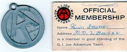 Of course, if you were born 10 years later, the Adventure Team Club was for you! Instead of a dogtag, you received one of these nifty AT pendants, plus the AT-version membership card. WOW! (Courtesy: Robert Findlay Collection)
