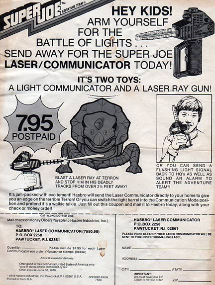 "As we poured through the piles of Joe ephemera, we came across some most collectors have never seen before, including this obscure '70s ad for Super Joe's ""Laser Communicator."" Talk to Joe's dino-buddy with a beam of light. How cool is that? (Courtesy: Robert Findlay Collection)"