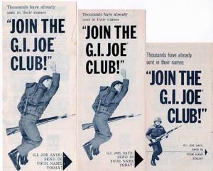 "The next piece most fans added to their ""Joe ephemera"" collection (or used and mailed away) was most likely the club membership brochure. Note its many sizes and subtle variations. (Courtesy: Robert Findlay Collectiion)"