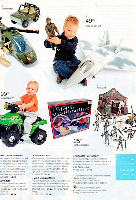 Even ads and catalog pages showing vehicles made for 1:6 scale figures are considered as a type of GIjOE ephemera. This nice page from a JCPenny catalog shows a Jeep, Helicopter and the elusive YF-22 from Fairlandtoys. (Courtesy: Mark Otnes Collectioin)