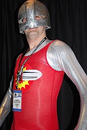 "Yes, it takes ""guts"" to go out in public in tight red spandex. In this closeup, everyone's favorite AT member, ""Bulletman,"" makes a rare appearance in public at the 2011 JoeCon. Believe us, you'll be glad we cropped the photo at his waist. Yikes! (Photo: GIJCC)"