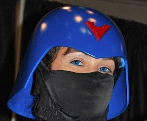 "Don't forget to coordinate your ""look."" For example, the blue eyes of this female Cobra trooper perfectly matched her helmet and uniform. And we all know how important THAT is. HA (Photo: GIJCC)"