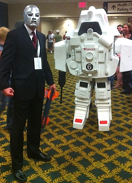 "A dapper dressed ""Destro"" and his robot underling prepare to walk the convention floor at JoeCon 2012. Outstanding work! (Photo: GIJCC)"