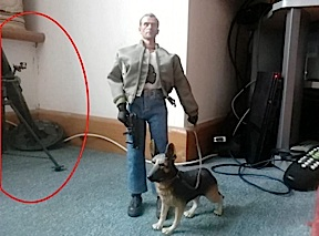 The Facebook photo that started it all. Note the ominous bipod leg of the mortar. And the TV remote. And the baseboard. And the plastic dog. And the action figure. Call the police! (Photo: Ian Driscoll)