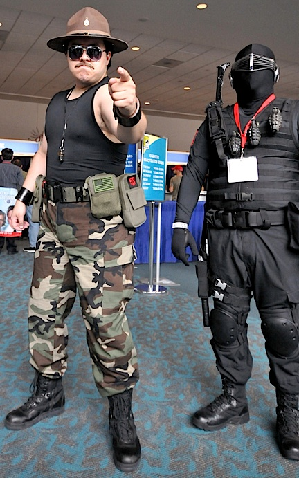 """This fan put together the BEST """"Sgt. Slaughter"""" costumed portrayel we've ever seen. In fact, ol' """"Snake Eyes"""" there looks a little jealou!"""