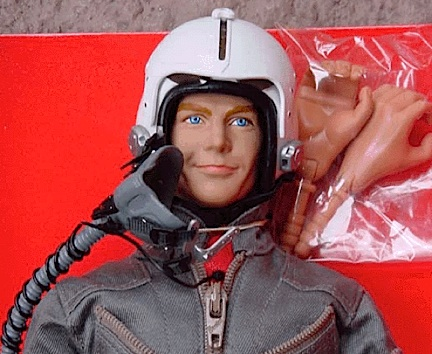"This closeup of the Yeager figure reveals a face more akin to Dennis Quaid (also in ""The Right Stuff"") and items that were clearly cloned from other company's parts. Note the hands? Obviously copies of CC hands. And that helmet and mask? Yup. We've seen those before elsewhere too! (Photo: OK Gangum)"