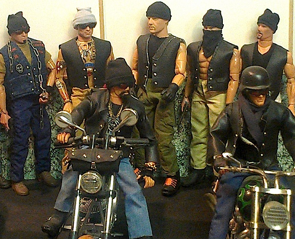 Holy, Hells Angels! Stymus' bad-to-the-bone custom Bikers look like they're ready for anything. Notice the custom leather outfits, and numerous tiny details that make this group of figures so outstanding. (Photo: Ron Stymus)