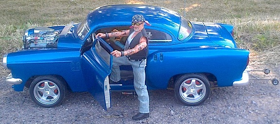 Ron's 1:6 scale custom blue hot rod is perfectly detailed and appointed to resemble a 1:1 scale high-performance street machine. Vrroom!(Photo: Ron Stymus)