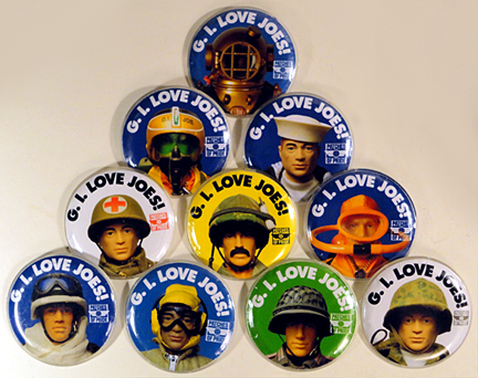 "There were 10 distinctive versions of the ""G.I. Love Joes!"" buttons which were handed out free to 100 lucky attendees at the recent Joelanta 2103 show in Atlanta, GA. (Photo: Mark Otnes)"