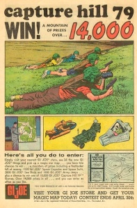 "Hasbro's mid 1960s ad for their ""Capture Hill 79"" GIjOE contest clearly reflected the company's awareness of how children were playing with toys at that time; down on the ground, hands-on, and imaginatively. (Ad scan: Mark Wright) Click to enlarge."