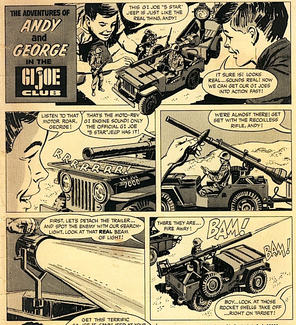 "This portion of an old Hasbro ad reveals how GIjOE fans played with 1965's ""state-of-the-art"" 5-star Jeep: They got down in the dirt! Looking back at it now, this revered Hasbro vehicle was indeed a lot of fun to play with and quite advanced for its time, including a unique ""Moto-Rev"" engine sound, working spotlight and ""firing"" projectiles. (Scan by: Mark Wright)"