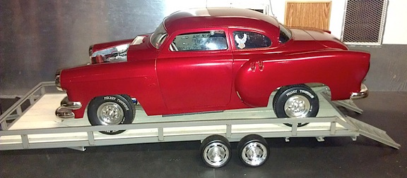 Ron's red hot rod looks STUNNING on his 1:6 scale scratch-built trailer. WOW. Look at the size of that thing! (Photo: Ron Stymus)