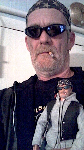"Ronald ""Inks"" Stymus (NY), poses with his 1:6 scale custom ""mini me"" GIjOE. (Photo: Ron Stymus)"