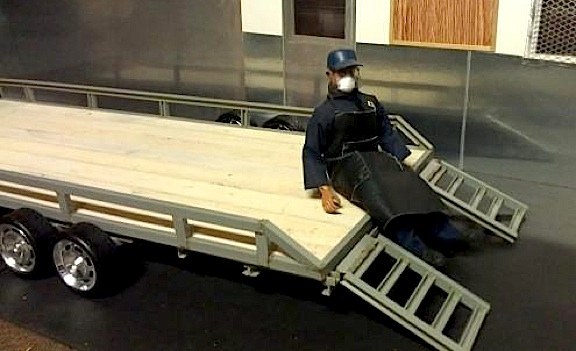Closeup of Ron's custom trailer with ramps connected. (Photo: Ron Stymus)