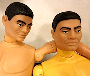 "In this side-by-side comparison, a standard mass-produced vintage Japanese GIjOE appears to console his much rarer ""yellow-bodied"" cousin. (Photo: Mark Otnes)"