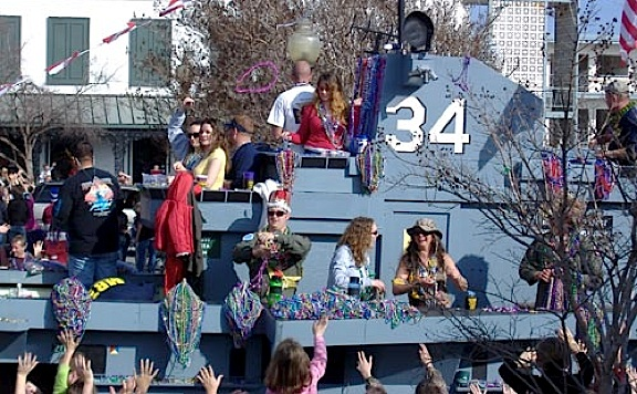 The USS Orikansy float appeared again in the 2008 Mardi Gras Parade in Pensacola, FL (Photo: Meyer Muse)