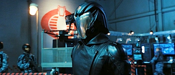 The Cobra Commander walks ominously around his headquarters. Does it get foggy behind that visor? (Photo: Paramount)