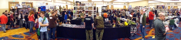 "This unique 180-degree ""panorama"" image of the dealer showroom of JoeCon 2013, shows the convention at its peak attendance. However, the picture does not clearly show how few dealers there were. While quality of goods was high, quantity was LOW. (Photo: Mark Otnes) Click to enlarge."