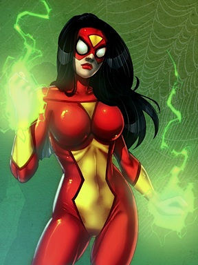 "Lady Action's ""raven hair"" would work easily to create this version of Spiderwoman, but other characters would require Round 2 to create interchangeable wigs or find some other solution. (Art: Marvel Comics)"