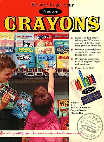 "This ""retro-modern"" ad for Weston crayons perfectly captures the mood of ""surprise"" and delight that Round 2 strives to achieve with its own reinterpretation of Captain Action's vintage charm and fun. (Photo: Round 2)"
