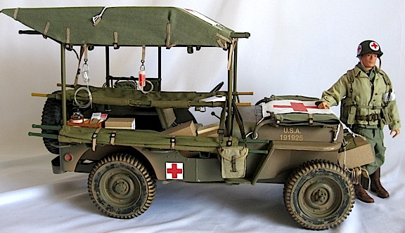 A second custom Army ambulance sports Robert's amazing, hand-crafted canvas top, complete with racks for the stretchers, medical accessories, a hood flag and decals. (Photo: Robert Jason)
