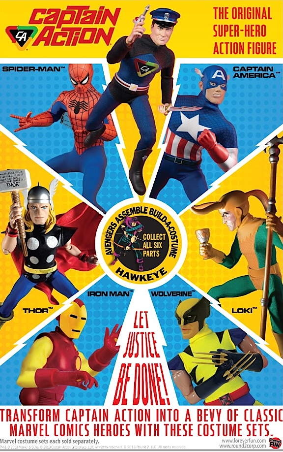 "While the bright colors and superheroes depicted will surely interest children, the ""retro-graphics"" incorporated into this new ad from Round 2 and Captain Action Enterprises, will likely appeal more to adults who fondly remember seeing similar ads in the pages of comic books back in the 1960s. (Photo: CAE)"