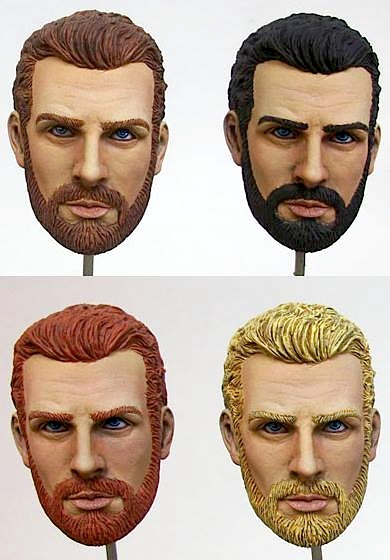 "Four ""test heads"" for ZICA's new Action Jackson line of 1:6 scale figures, sporting four different hair color options. Which is YOUR favorite? (Photo: ZICA Toys)"