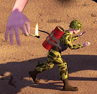 "In this screenshot from the scene in Toy Story, Andy's evil neighbor, ""Sid,"" prepares to blow up a 12-inch GIjOE with a firecracker. Because of Hasbro's objection and subsequent refusal to grant permission to use its GIjOE brand name, Pixar was forced to change the action-figure's name to ""Combat Carl."" One of the classic corporate blunders of all-time, Hasbro's decision would cost them untold amounts of free advertising."