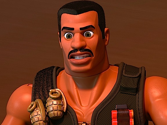"GIjOE fans will instantly recognize that Pixar's ""Combat Carl"" was patterned after a AA Classic Collection ""blockhead"" sculpt, with the simle addition of a Carl Weather's moustache. The vest appears to be a police-style vest with zipper, shotgun shells and 2 vintage style, silver grenades. (Photo: Pixar)"