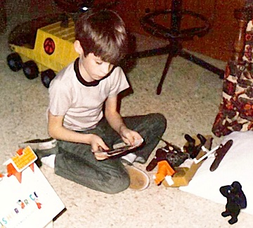A young David Howard playing with his Pygmy Gorilla Set and Mobile Support Vehicle. (Photo: David Howard)