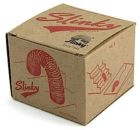 "Sometimes ""retro graphics"" are used to spur sales of long dormant brands such as the venerable 1960s ""Slinky"" toy. It's plain, cardboard box with one-color line art illustrations stir childhood memories and invoke a simpler era of play. (Photo: James Industries)"