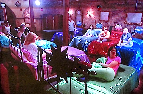 "Welcome to a reality of ""Reality-TV."" Ten contestants, all sleeping in the same room. According to Stork, the only time cameras in the lair were off, was when they were sleeping. (Photo: Syfy)"