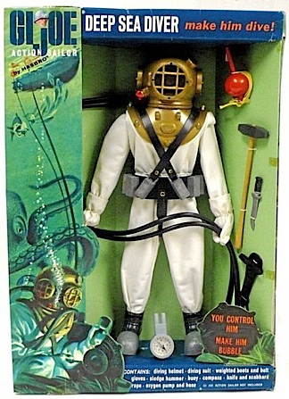 """GIjOE's """"Deep Sea Diver"""" equipment set was patterned after the same """"hard hat"""" diving suits worn by Spence and other US Navy UDT members. Spence would have used this sort of breathing helmet, a watertight suit, weighted belt and shoes, and carried whatever tools were required for the job. (Photo: collecttoys)"""