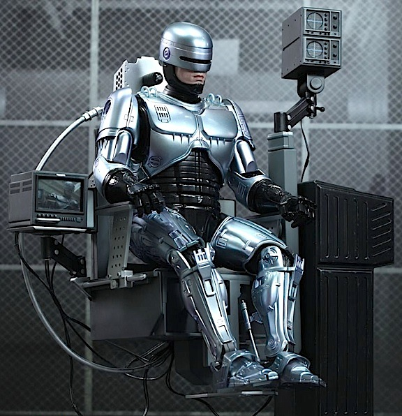 "You can display Hot Toys 1:6 scale Robocop action figure in action poses or recharging in his ""docking station"" chair. Absolutely outstanding details and workmanship. (Photo: Hot Toys)"